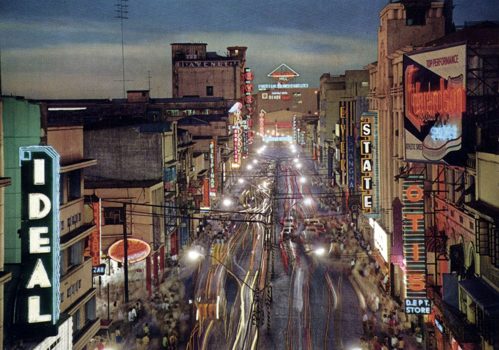 Rizal Avenue comes alive at night ! - mid 1960s